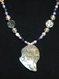 unique beaded abalone shell necklace