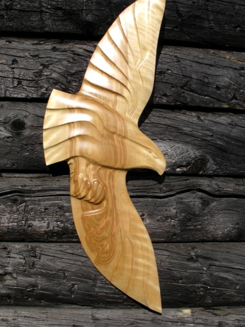 Alaskan Art, wood carving, Tresham Gregg, wall carvings, eagles, hand made