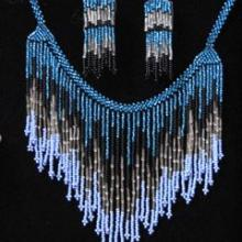 unique hand made beadwork necklace and earring set
