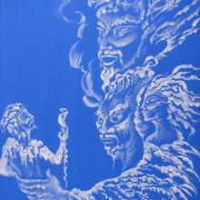 Handpainted acrylic fantasy cloud painting, shaman,