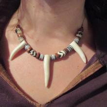 Tribal necklace with Deer Antler tips on leather cord with Trade Beads