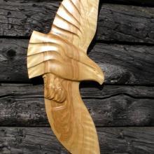 Alaskan Art, wood carving, Tresham Gregg, wall carvings, eagles, hand made