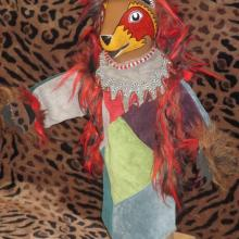 hand made of leather scraps, faux fur, sculpted head, Bear hand puppet