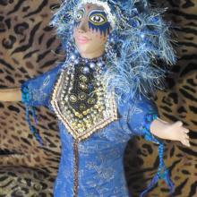 """Goddess Puppet Doll """"Blue Angel"""" hand puppet, fantasy, original art"""