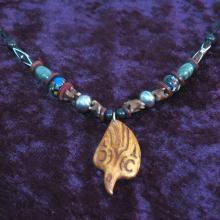 tribal necklaces, shaman, bone beads, Raven, Alaskan Art
