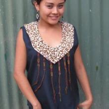 Handmade cotton sleeveles blouse with Jaguar print yoke w/ friendship bracelets