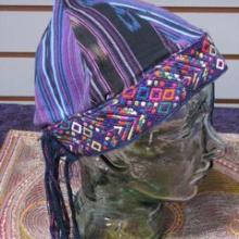 blues and purples hand woven fabric patchwork hat
