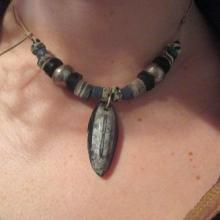 Orthoserus Fossil Tribal Necklace on leather cord with trade beads