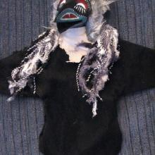 Ravens, puppets, Hand made of leather, faux fur, yarn and paper clay head