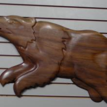Alaskan Art, wood carving, Tresham Gregg, wall carvings, bears, hand made