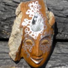 Goddess, woodcarvings, mystic masks, Alaskan art